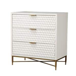 18 in. L x 32 in. W x 34 in. H Small Honeycomb Design White 3-Drawer Chest with Metal Legs