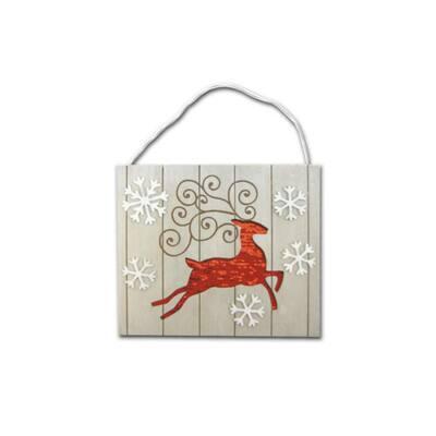 11.9 in. x 10 in. Reindeer Wall Plaque