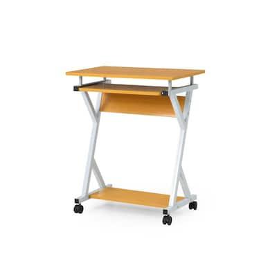 24 in. Rectangular Beech Laptop Desk with Keyboard Tray