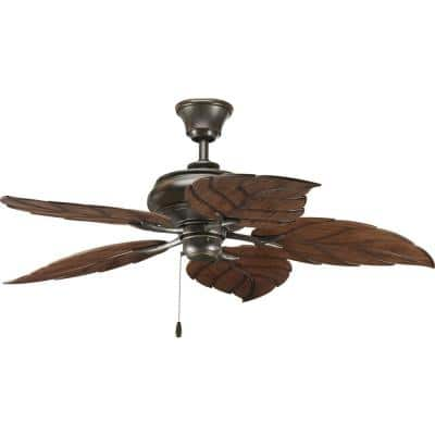 AirPro 52 in. Indoor or Outdoor Antique Bronze Tropical Ceiling Fan with Palm Leaf Blades