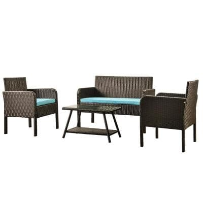 4-Piece Rattan Sofa Seating Group Outdoor Ratten Sofa with Blue Cushions