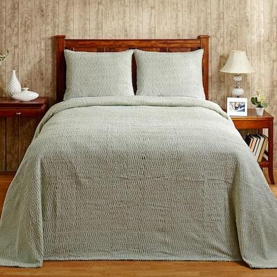 Natick 3-Piece 100% Cotton Sage Queen Wavy Stripes Design Bedspread Set