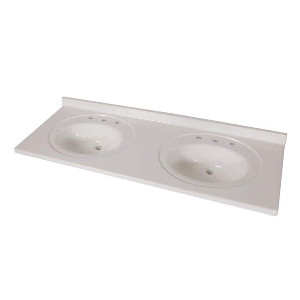 St Paul 61 In X 22 In Cultured Marble Double Bowl Vanity Top In White With White Sinks Abi6122dcom Wh The Home Depot