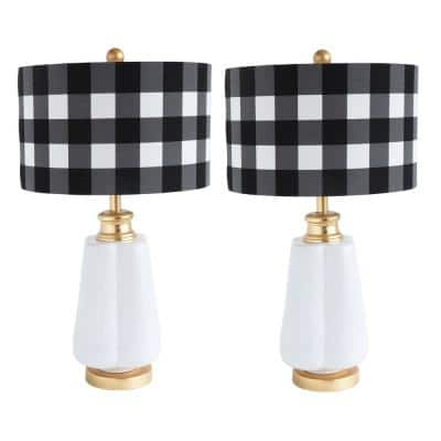 27 in. White and Gold Ceramic Lamp with Black and White Gingham Linen Shade