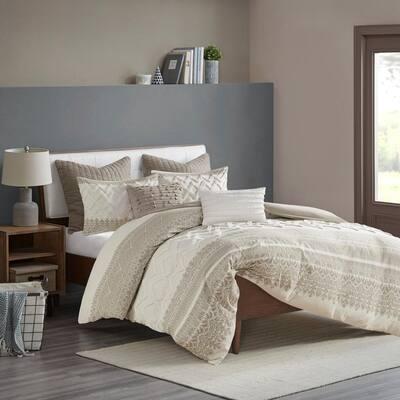 Mila 3-Piece Taupe Print Cotton King/Cal King Comforter Set
