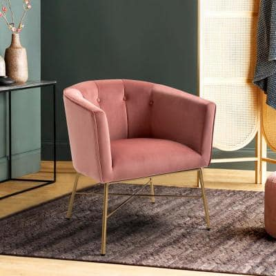 Falette Pink Velvet Accent Chair with Golden Base Barrel Chair