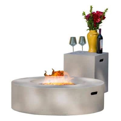 Aidan 39 in. x 11.47 in. Round MGO Gas Fire Pit Table in Light Grey 50,000 BTU with Tank Holder