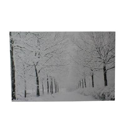11.75 in. x 15.75 in. Fiber Optic Lighted Snowfall Winter Lane Christmas Canvas Wall Art