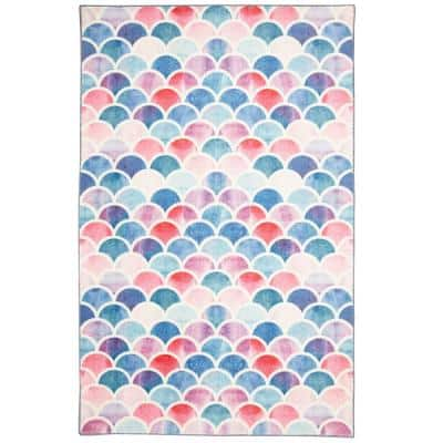 Mermaid Scales Pink 8 ft. x 10 ft. Whimsical Area Rug