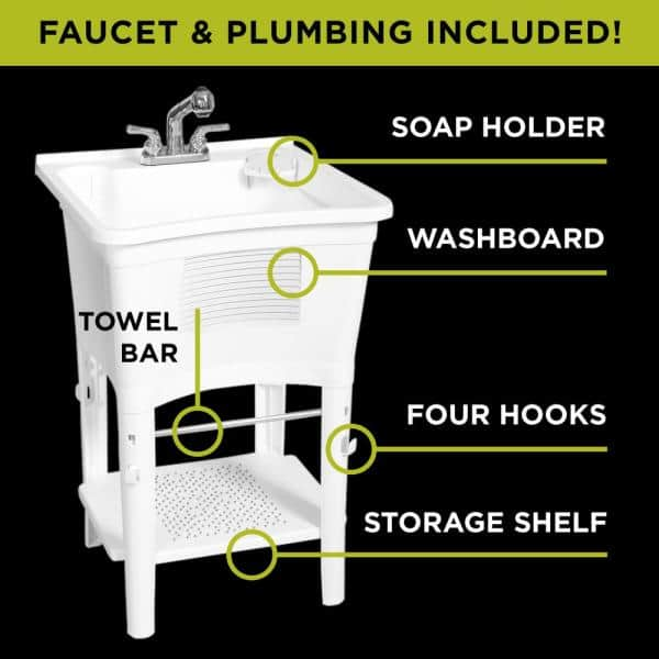 Zenna Home Ergo Tub Freestanding 24 In X 24 In Complete Laundry Work Center In White With Non Metallic Pull Out Faucet In Chrome Elt2006w The Home Depot