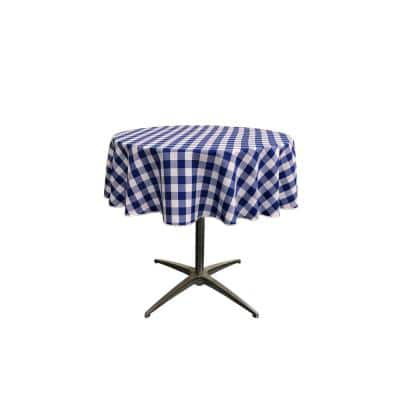 """""""58 in. White and Royal Blue Polyester Gingham Checkered Round Tablecloth"""""""