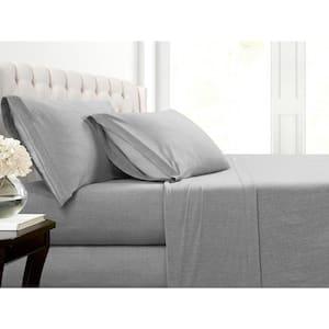 Heather Jersey 3-Piece Grey Solid Cotton Blend Twin XL Sheet Set