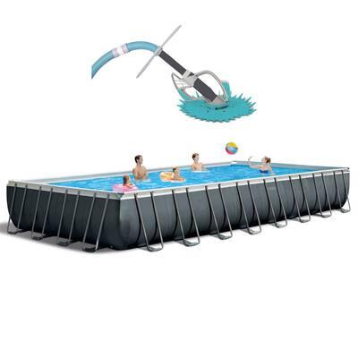 Rectangular Swimming Pool Set with Pump and Kokido Swimming Pool Vacuum
