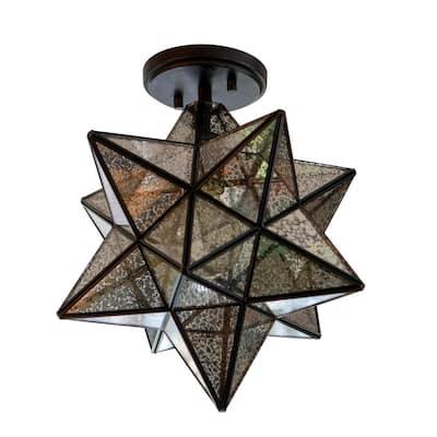 Star Shape 14 in. 1-Light Antique Bronze Semi Flush Pendant