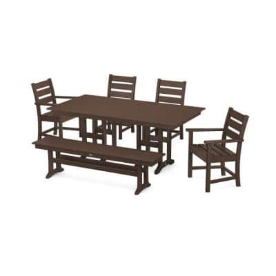 Grant Park Mahogany 6-Piece Plastic Outdoor Dining Set with Bench