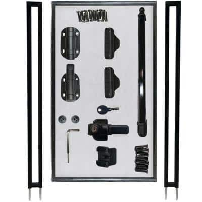 2.5 ft. W x 4 ft. H Pool Fence DIY Gate in Black with Self-Closing, Self-Latching Hardware and Flat Top