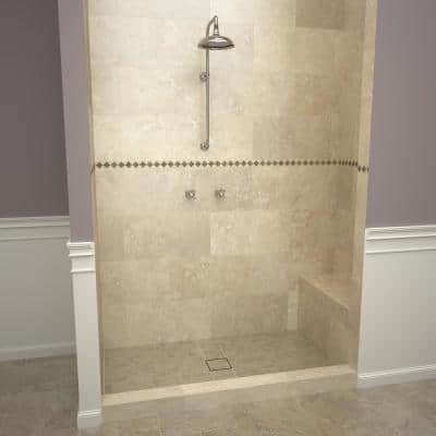 Base'N Bench 36 in. x 60 in. Single Threshold Shower Base and Bench Kit with Center Drain and Tileable Grate
