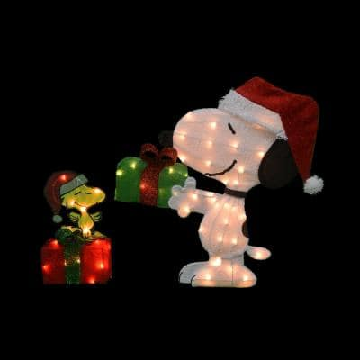 26 in. Peanuts 2D Pre-Lit Yard Art Animated Snoopy and Woodstock on Gift