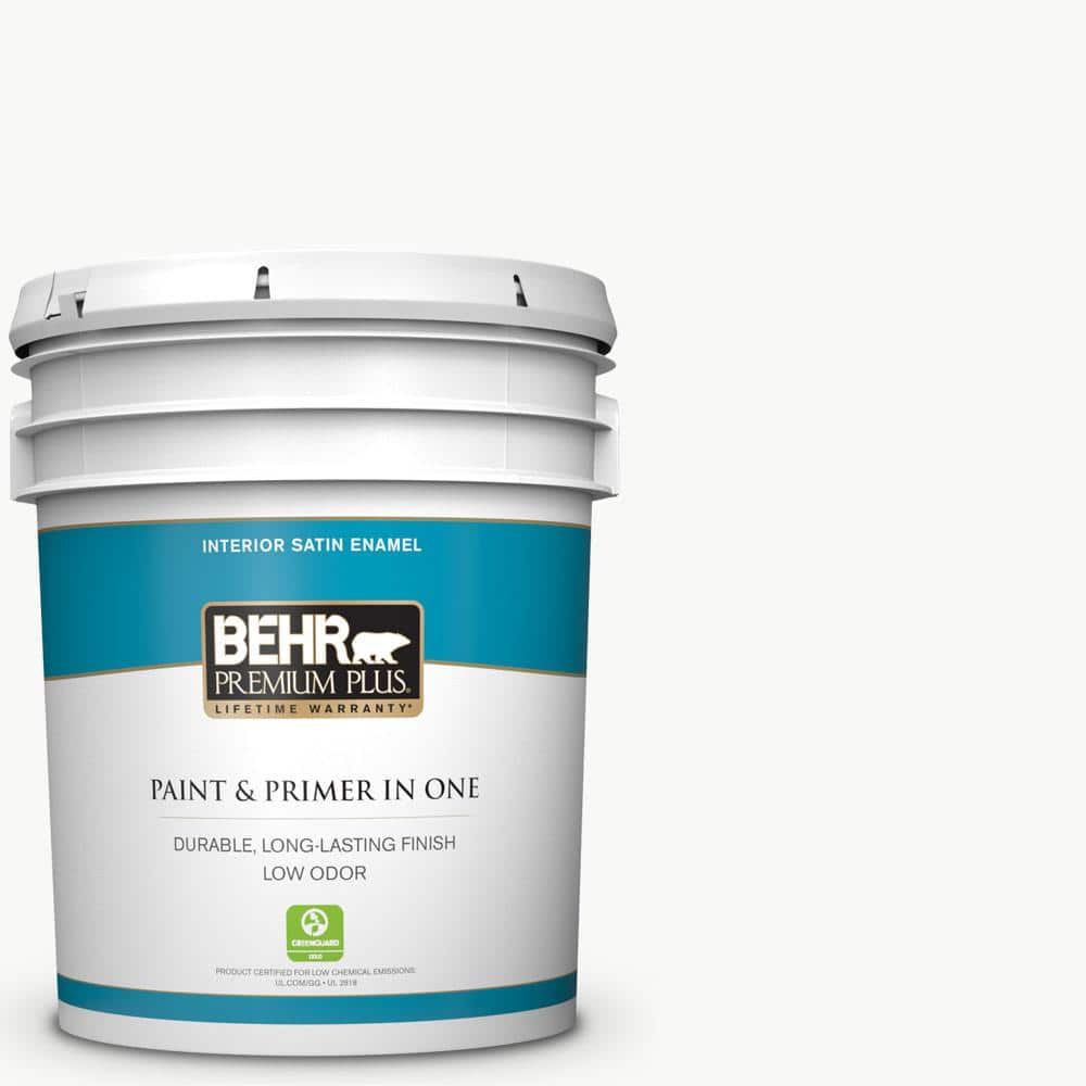 Behr Premium Plus 5 Gal Ultra Pure White Satin Enamel Low Odor Interior Paint And Primer In One 705005 The Home Depot