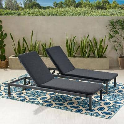 Cape Coral Dark Grey 2-Piece Aluminum Outdoor Chaise Lounge with Dark Grey Cushions