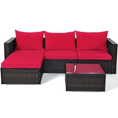 Outdoor 5-Piece Wicker Sectional Set Conversation Sofa with Red Cushion