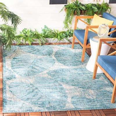 Courtyard Gray/Aqua 9 ft. x 12 ft. Geometric Indoor/Outdoor Area Rug