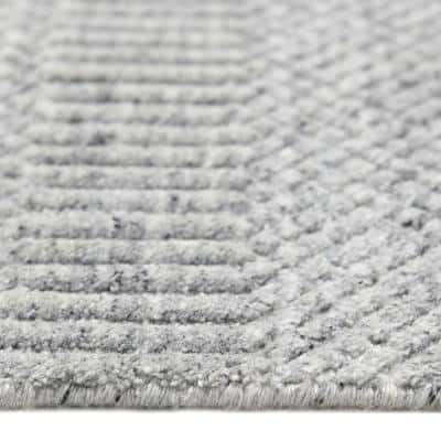 Sanam Contemporary Solid Light Gray 8 ft. x 10 ft. Hand Loomed Area Rug