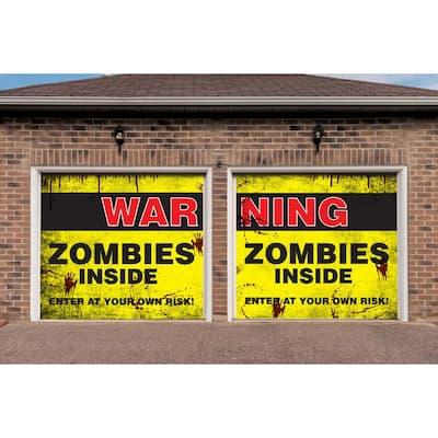 7 ft. x 8 ft. Zombies Inside Halloween Garage Door Decor Mural for Split Car Garage