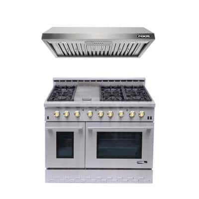 Entree Bundle 48 in. 7.2 cu. ft. Pro-Style Gas Range with Convection Oven and Range Hood in Stainless Steel and Gold