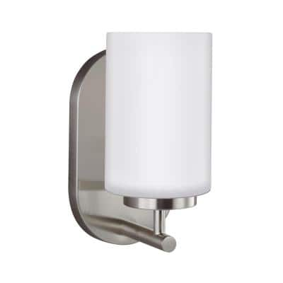 Oslo 1-Light Brushed Nickel Sconce with LED Bulb