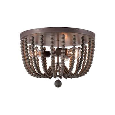 Dumas 15.75 in. 3-Light Golden Bronze Wood Bead Flush Mount Light