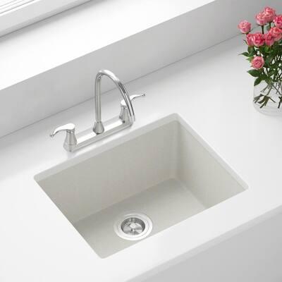 White Quartz Granite 22 in. Single Bowl Dualmount Kitchen Sink with Strainer
