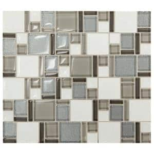 Premier Accents Silver Block 11 in. x 13 in. x 8 mm Glass and Porcelain Mosaic Wall Tile (1.06 sq. ft./Each)