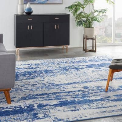 Whimsicle Ivory Navy 9 ft. x 12 ft. Abstract Contemporary Area Rug
