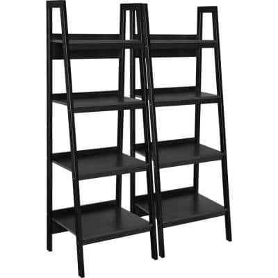 60 in. Black Metal 4-shelf Ladder Bookcase with Open Back