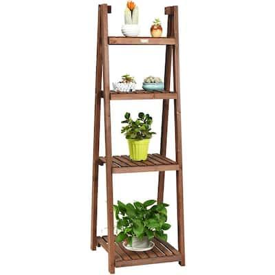 18 in. x 18.5 in. x 60 in. Ladder Indoor Outdoor Brown Wood Plant Stand (4-Tiers)
