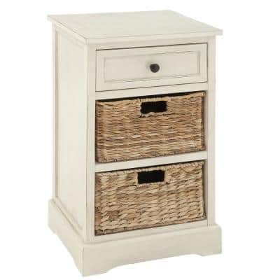 16 in. x 28 in. Antique White Wooden Side Table with 2-Wicker Basket Drawers