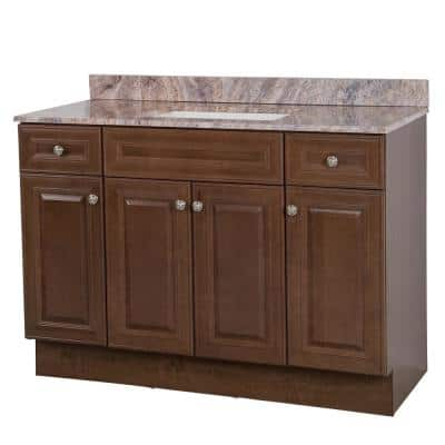 Glensford 49 in. W x 22 in. D Bath Vanity in Butterscotch with Stone Effects Vanity Top in Cold Fusion with White Sink