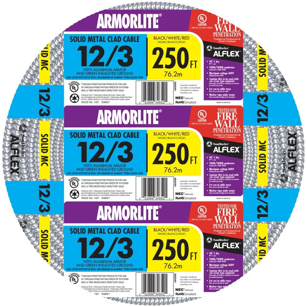 Southwire 12 3 X 250 Ft Solid Cu Mc Metal Clad Armorlite Cable 68583401 The Home Depot