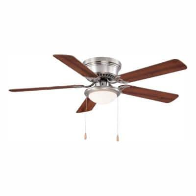 Hugger 52 in. LED Indoor Brushed Nickel Ceiling Fan with Light Kit