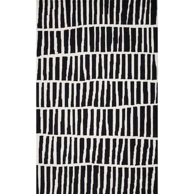 Lemuel Geometric Black 4 ft. x 6 ft. Area Rug