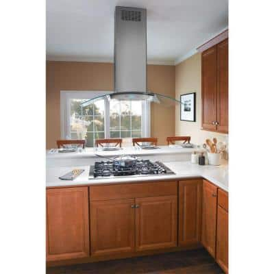 42 in. Convertible Glass Canopy Island Range Hood in Stainless Steel