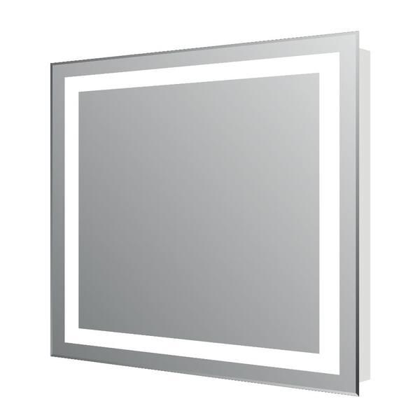 Eviva Lite 24 In W X 30 In H Frameless Rectangular Bathroom Vanity Mirror In Aluminum Evmr34 24x30 Led The Home Depot