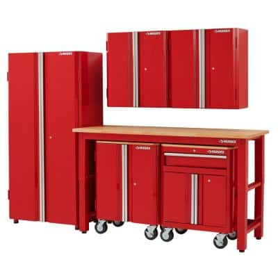 6-Piece Ready-to-Assemble Steel Garage Storage System in Red (108 in. W x 98 in. H x 24 in. D )