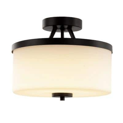 12 in. Espresso Integrated LED Semi-Flush Mount with Frosted Shade