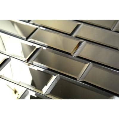 Reflections Gold Beveled Subway 3 in. x 6 in. Glass Mirror Wall Tile(1 sq. ft. )