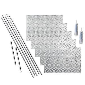 Rings 18 in. x 24 in. Brushed Aluminum Vinyl Decorative Wall Tile Backsplash 15 sq. ft. Kit