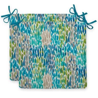 Peacock Feathers Blue Square Outdoor Seat Cushion (2-Pack)
