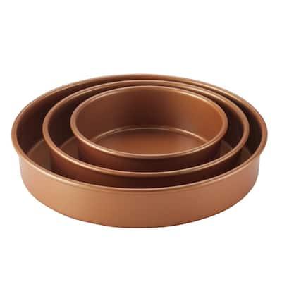 3-Piece Round Cake Pan Set, Copper