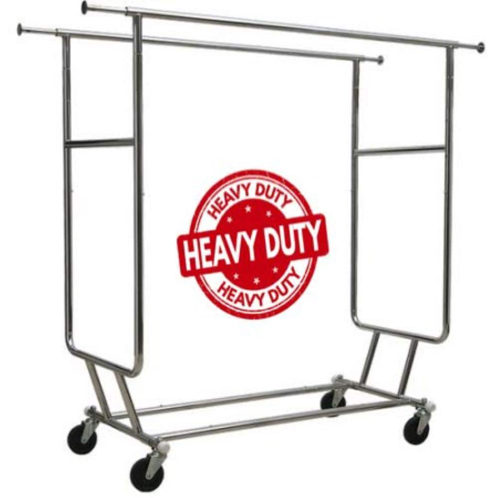 only hangers commercial grade heavy duty double rail rolling portable closet 60 in w x 64 in h gr200 the home depot